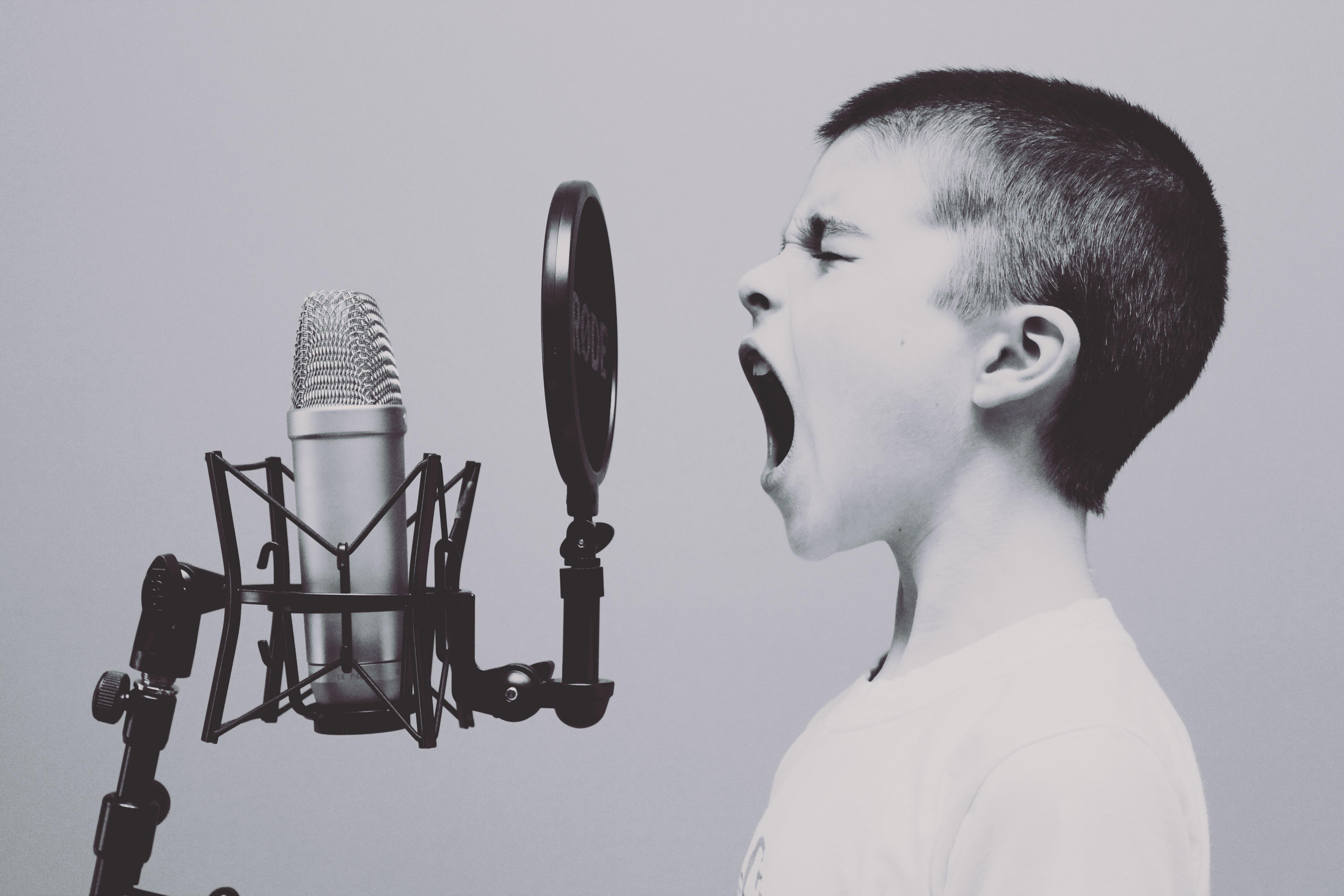 Boy with radio microphone